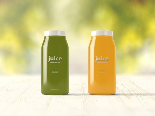 Green and yellow juice bottle mock up