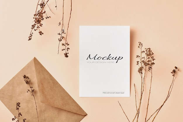 Greeting card or invitation mockup with dry nature plants twigs decorations