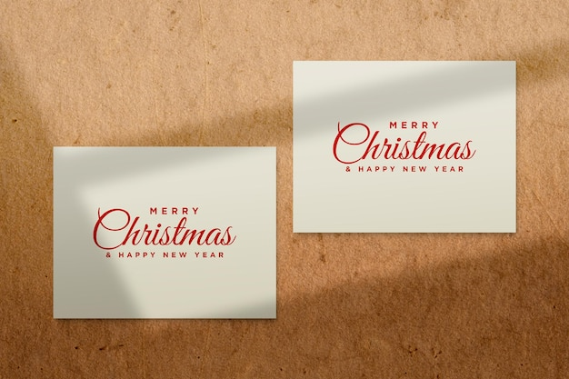 Greeting card mockup with christmas concept psd with shadow