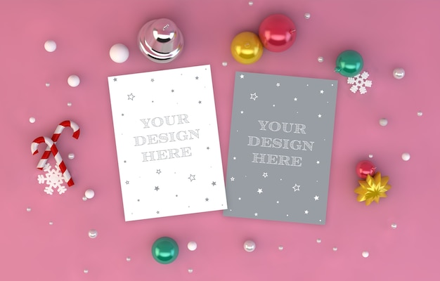 Greeting card mockup with christmas decoration 3d rendering