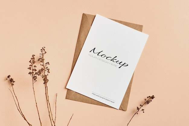 Greeting card mockup with dry nature plants twigs decorations