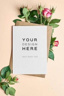 Greeting card mockup with envelope and roses flowers