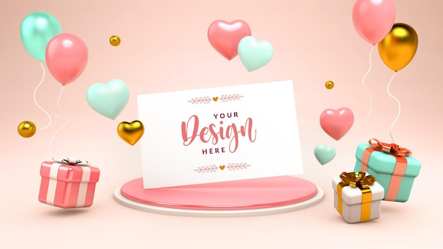 Greeting card mockup with floating hearts, gifts and balloons in 3d rendering