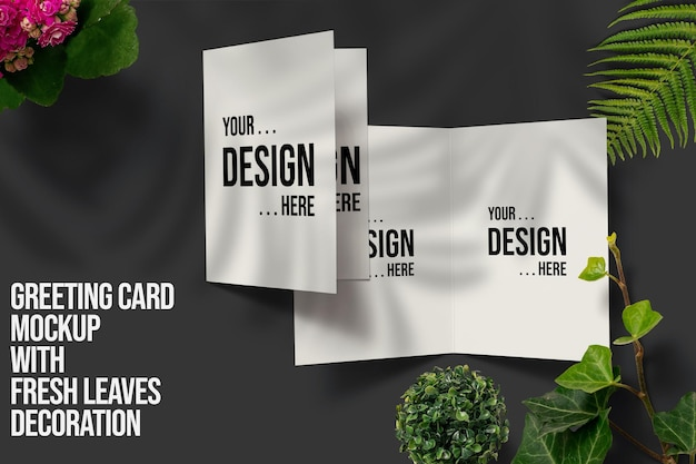 Greeting card mockup with fresh leaves decoration