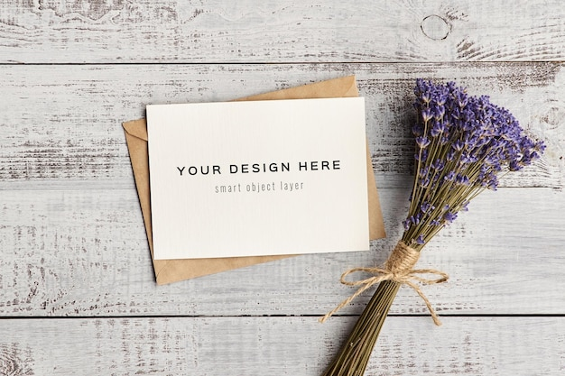 Greeting card mockup with natural lavender flowers bouguet
