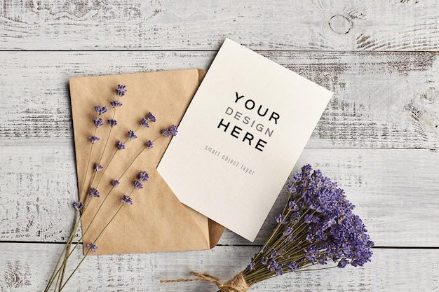 Greeting card mockup with natural lavender flowers bouquet