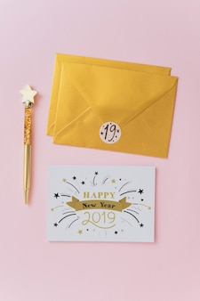Greeting card mockup with new year concept