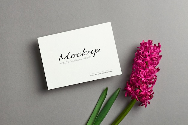 봄 히아신스 꽃 인사말 카드 모형