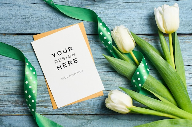 Greeting card mockup with tulip flowers