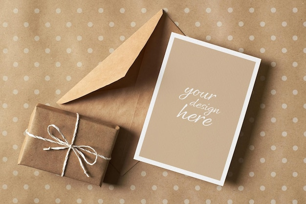 Greeting card stationary mockup with gift box and envelope