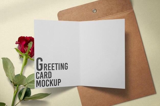 빨간 장미 장식 인사말 카드