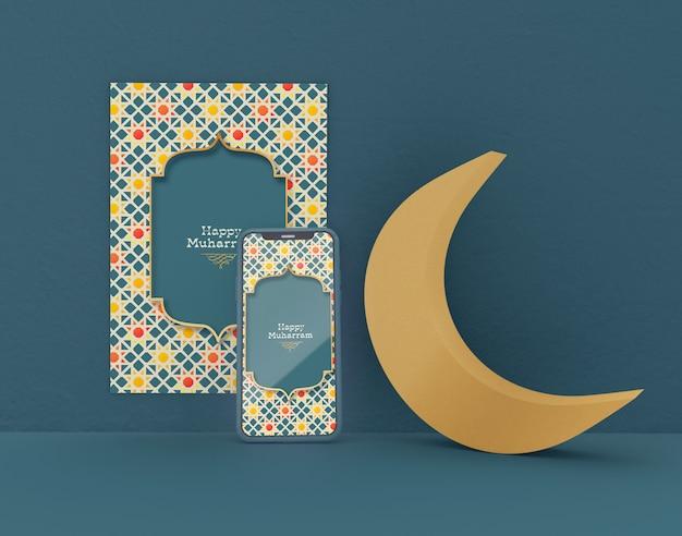Greeting card with smartphone mockup. eid mubarak. celebration of muslims community.
