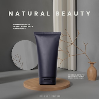 Grey abstract random natural wood podium