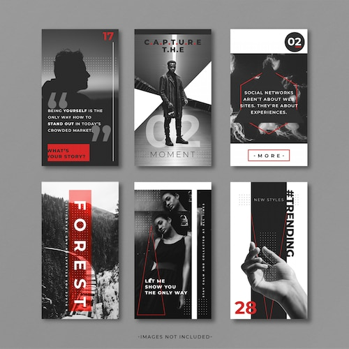 Grey and red Instragram story template