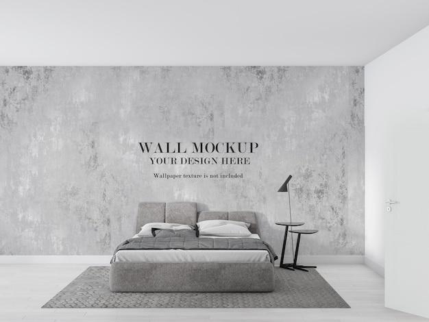 灰色と白のミニマリストの寝室のモックアップ壁