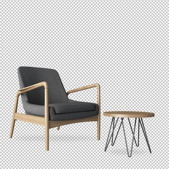 Серое кресло и стол в 3d-рендеринге