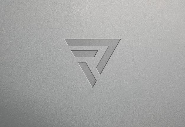 Grey clean plastic texture logo mockup