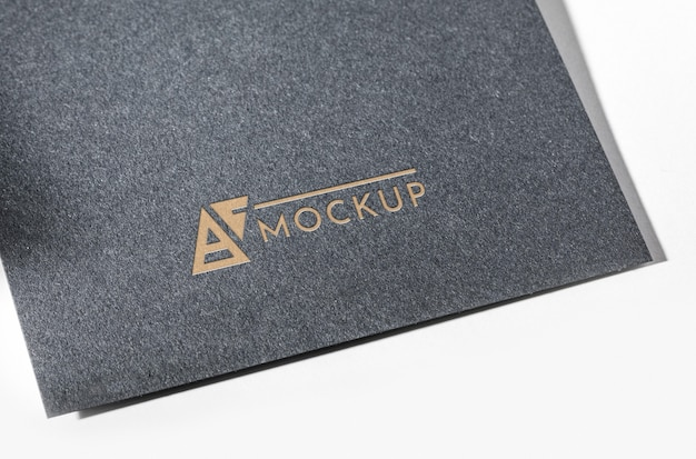 Grey close-up business card mock-up
