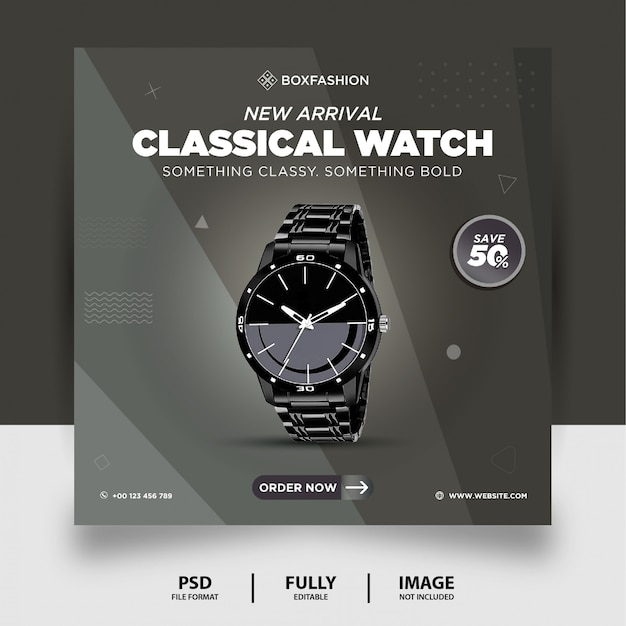 Grey color classical watch brand product social media post banner