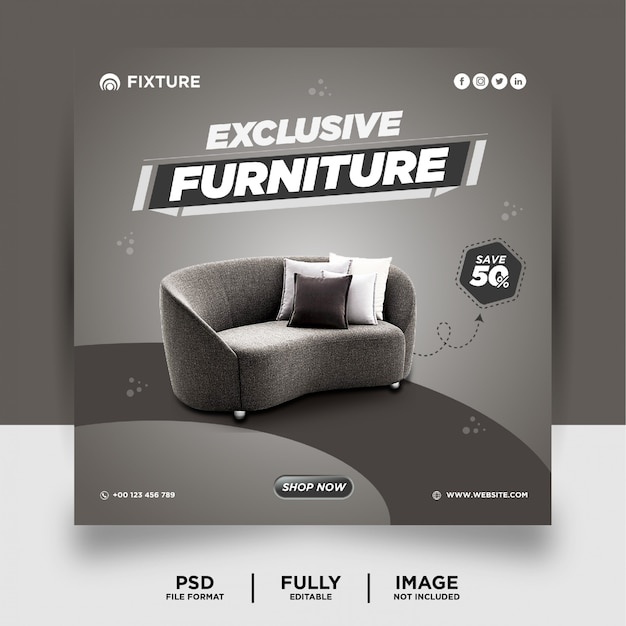 Grey color exclusive furniture product social media post banner