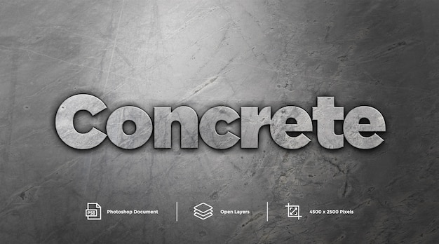 Grey concrete text effect design photoshop layer style effect