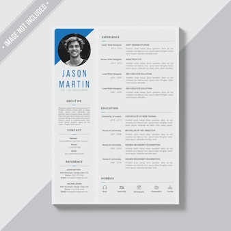 Grey cv template with blue details