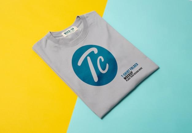 Grey folded t-shirts mockup
