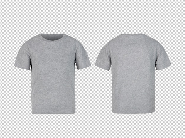 Grey kids t shirt front and back mockup