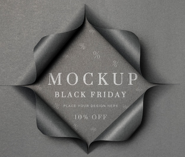 Grey mock-up and torn paper black friday