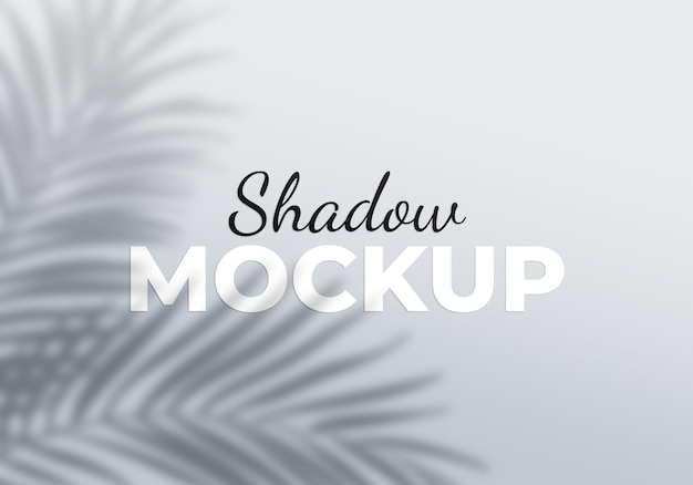 Grey overlay effect of palm leaves transparent shadows mockup
