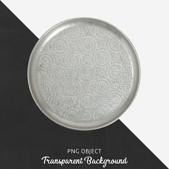 Grey patterned serving plate on transparent