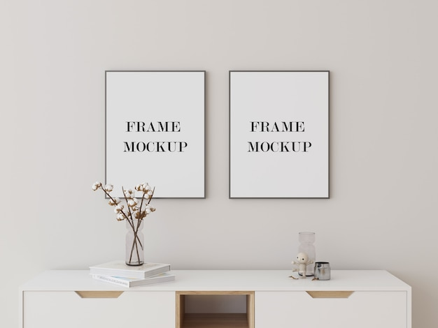 Grey photo frames mockup above console table