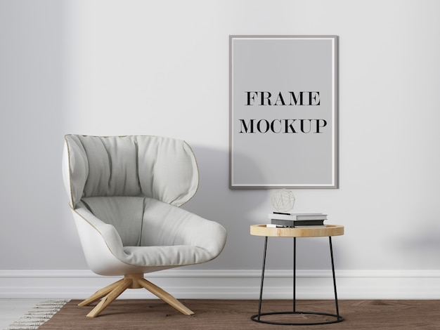 Grey picture frame mockup beside comfortable white armchair 3d visualization