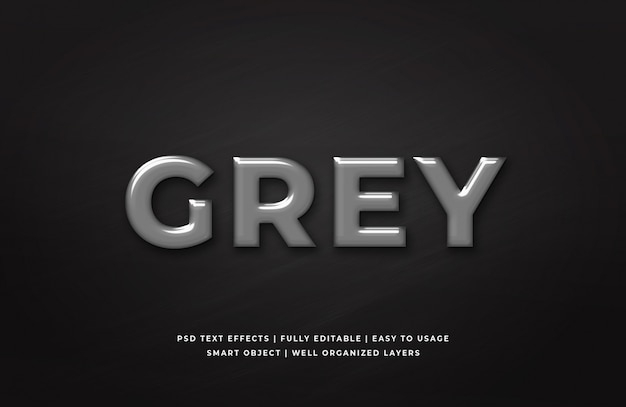 Grey plastic 3d text style effect template