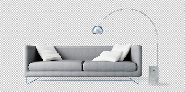 Grey sofa and floor lamp in 3d rendering