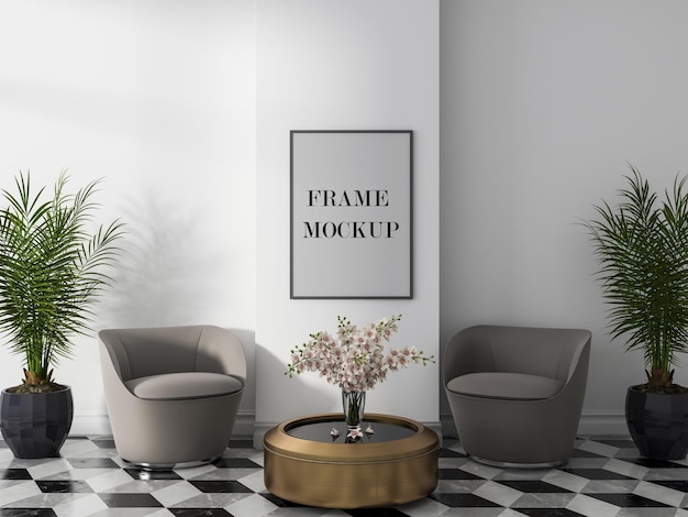 Grey wall frame mockup design