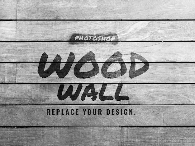 Grey wood wall mockup