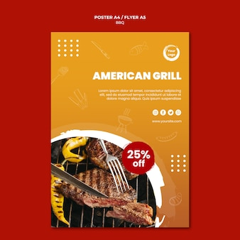 Grill and cutlery poster template