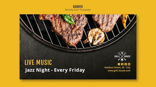 Grill house banner template Free Psd