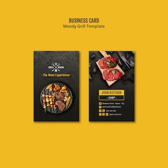 Grill house business card template