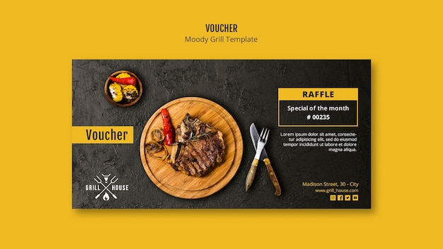 Grill house voucher template