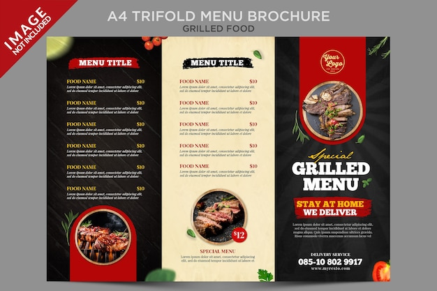 Grilled food  a4 trifold menu brochure series