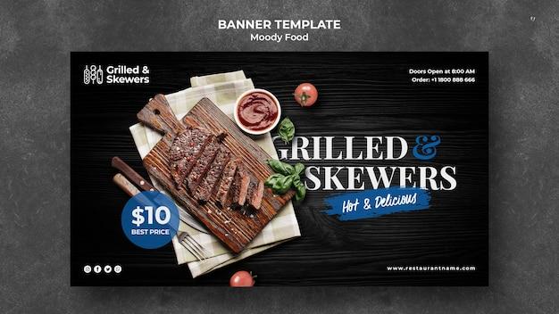 Modello di banner ristorante alla griglia e spiedini