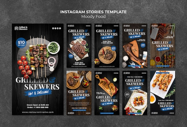 Grilled skewers restaurant instagram stories template
