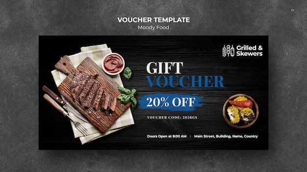 Grilled skewers restaurant voucher template
