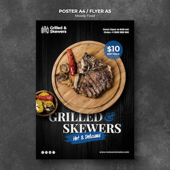 Grilled steak restaurant poster template