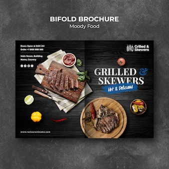 Grilled steak and veggies restaurant bifold brochure template