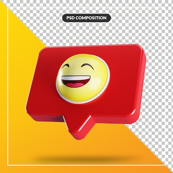 Grining face with smiling emoji symbol in speech bubble