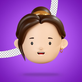 Grinning face for happy emoji of head woman character