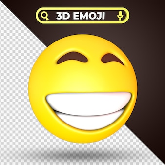 Grinning squinting face 3d rendering emoji isolated